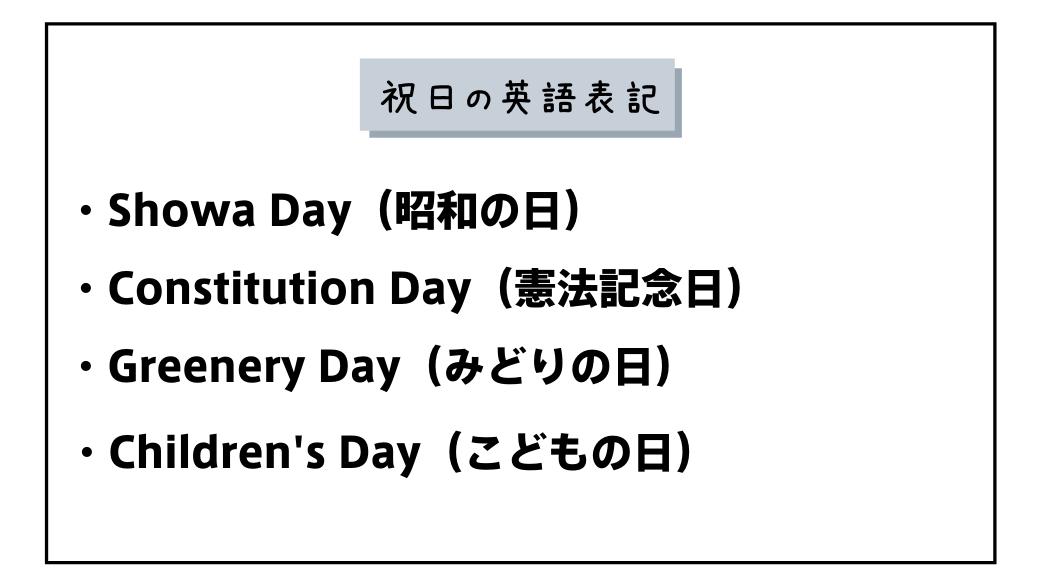 祝日英語表記