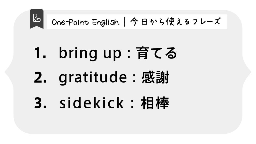 One-Point English | 今日から使えるフレーズ1.bring up : 育てる2.gratitude : 感謝3.sidekick : 相棒